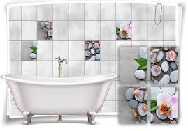 fliesen aufkleber spa wellness steine orchidee grau rosa beton bad wc deko