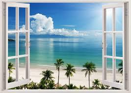 3d window decal wall sticker home decor exotic beach view art
