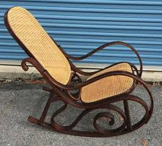 VINTAGE THONET STYLE BENTWOOD ARM CANE ROCKER ROCKING CHAIR MID CENTURY  MODERN