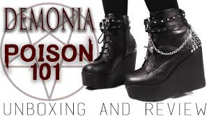 demonia poison 101 boots unboxing and review youtube