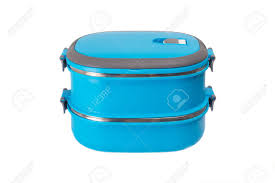 Blue Lunch Box On A White Background Isolated Stock Photo