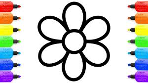 How To Draw Flowers Learning Rainbow Colors For Baby Coloring Book Kids With Colored Markers