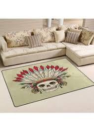 teppich mit indischem totenkopf motiv für wohnzimmer