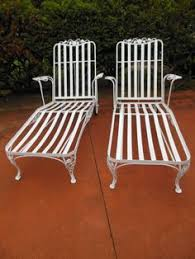Vintage Wrought Iron Patio Furniture Woodard by Salterini Chaise Lounges Joan Bogart Vintage Wrought Iron