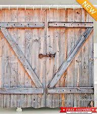 Waterproof Polyester Shower Curtain Bathroom Bath Decor Rustic Country Barn Door
