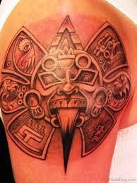 Aztec Sun Shoulder Tattoo