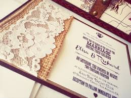 Cheap Country Wedding Invitations Combined With Elegant White Lace And Classic Black Wording Design In Brown Box