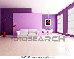 minimalist lila wohnzimmer mit essen raum stock