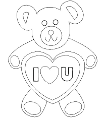 Teddy Bear With Heart Coloring Pages Ideas For Page Holding