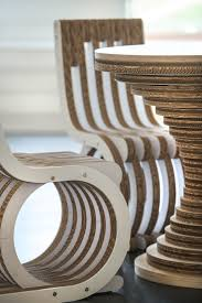 Detail of Cardboard Table Clessidra and Cardboard Chair Twist