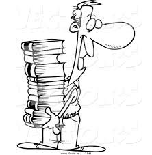 Vector Of A Cartoon Man Carrying Stack Books
