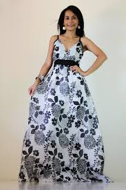 floral maxi dress black and white summer cotton cute v neck