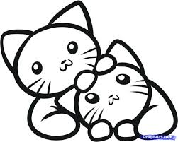 Adorable Kittens Coloring Pages Cute Free Christmas Kitten Sheets Little Full Size