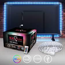 led tv hintergrundbeleuchtungs set 2m inkl usb anschluss led fernseher mit fernbedienung 16 farben selbstklebend für 40 60 zoll tv b k licht