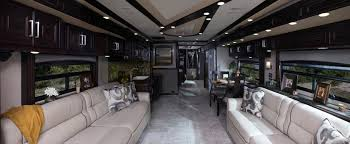 2015 American Eagle 45A In Pacific Royale Interior Decor And Rich Caramel Wood Cabinetry
