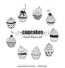 Doodle cupcakes collection Hand drawn food icons isolated on white background Sweets doodle set