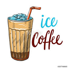 Cold Brew Iced Coffee Hand Drawn Vector Illustration