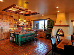 KitchenRustic Style Spanish Kitchen With Travertine Floor Tile And Wood Burning Fireplace Decorating