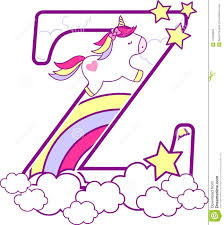 Download Initial Z With Cute Unicorn And Rainbow Stock Vector