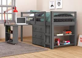 Low Loft Bed With Desk And Dresser by Caden Grey Kid U0027s Furniture Set With Twin Loft Bed Desk Dresser U0026 Boo