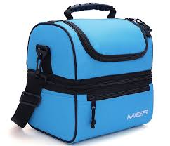 Amazon MIER Adult Lunch Box Blue Insulated Bag Large Cooler Tote For Men Women Double Deck CoolerBlue Toys Games
