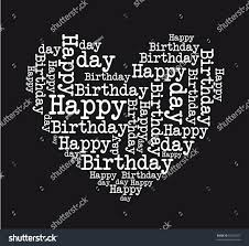 black and white happy birthday heart isolated vector illustration