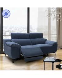 canapé design microfibre canapé bleu 2 ou 3 places relax électrique têtières réglables