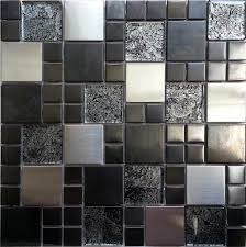 Tile Sheets For Bathroom Walls by Metalic Random Mix Brushed Steel Black Hong Kong Glass Mosaic