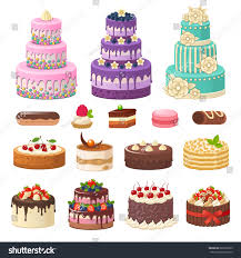 Cakes icons collection Vector illustration of different types of beautiful modern cakes such as