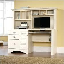 sauder harbor view computer desk corner with three drawers hutch