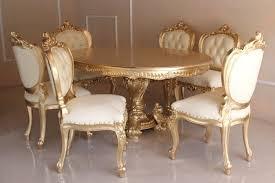 barock esszimmer garnitur minerva majestic oval belegt mit blattgold tisch mit 6 stühlen