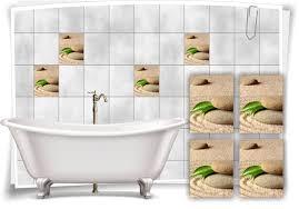 fliesen aufkleber fliesen bild sand steine blume wellness spa beige grün aufkleber deko bad wc