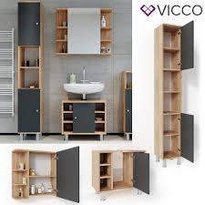 vicco badmöbel set fynn eiche anthrazit spiegelschrank unterschrank hochschrank