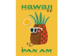 Hawaii Pan Am Airways Plane Vintage Travel Print Poster Or Canvas