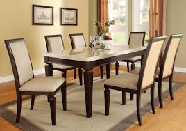 Acme Agatha 7PC White Marble Top Rectangular Dining Room Set In Espresso