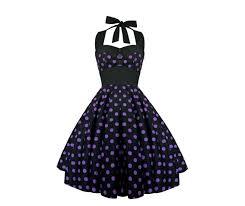 Rockabilly Pin Up Black Purple Polka Dot Dress Gothic 50s Swing Retro