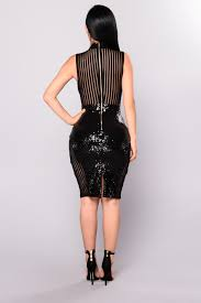 on top sequin dress black