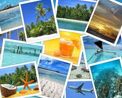 Collage Of Snapshots Tropical Travel Destinations Stock Photo