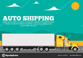 100 Auto Truck Transport Shipping Banner With Container Truck Stock Vector DimaOris
