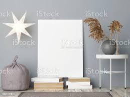 mockupposter in skandinavische dekoration wohnzimmer stockfoto und mehr bilder alt
