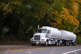 100 Semi Truck Trailers Modern White Day Cab With Chrome Grille And Two Tanks