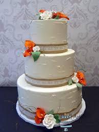 Burlap Lace Fall Wedding Cake