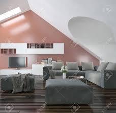moderne wohnzimmer mit schrä scheitel wände und decke mit oberlichtern holzparkettboden moderne möbel und eine grau lachsrosa akzent wand