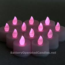 Tall Flameless Tea Lights Pink LED Battery Operated Set of 12
