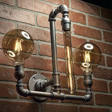 Steampunk Black Iron Pipe Lamp Living Room Wall Light Fixture