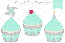 Grey & Mint Cupcake Clipart