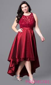 illusion lace high low plus size prom dress promgirl