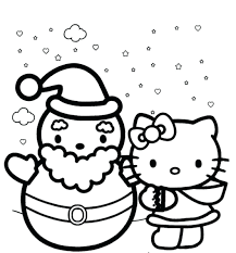 Free Online Printable Hello Kitty Coloring Pages Cat Sheets Winter Themed Full Size