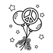 Free Peace Balloons Coloring Page