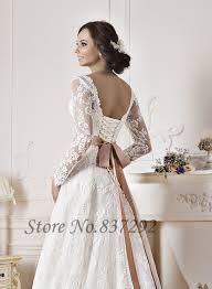 gorgeous white lace long sleeve wedding dresses a line corset back
